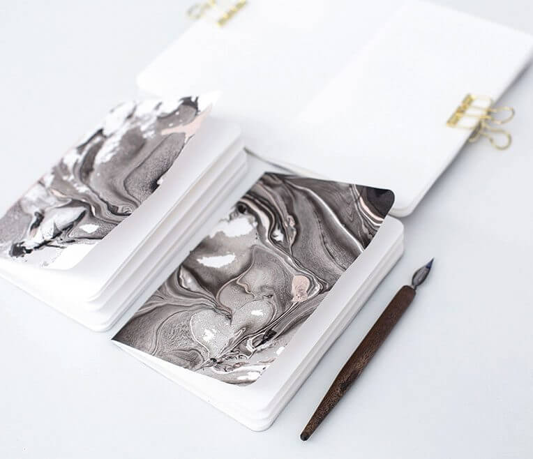 Marmorpapier und Marmornotizheft DIY
