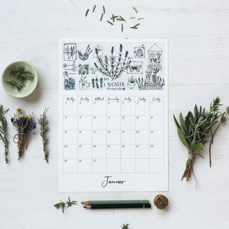 BOTANICALS Lavendel Kalender Printable