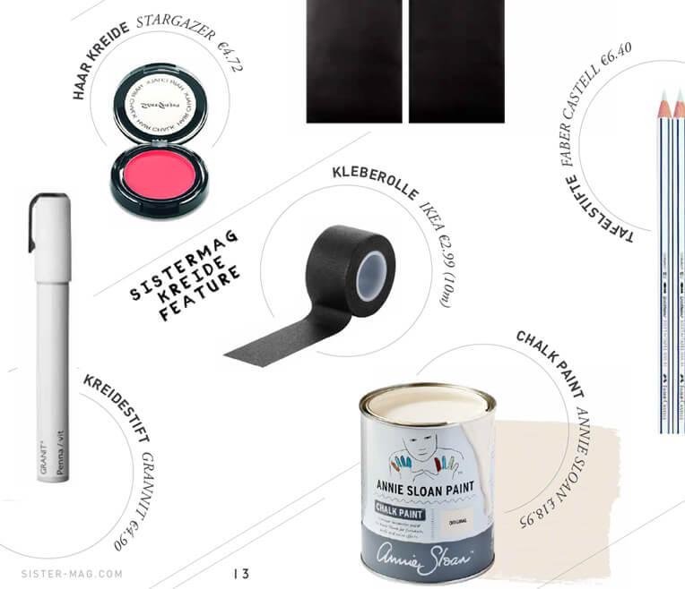 Produktcollage – Sachen aus Kreide