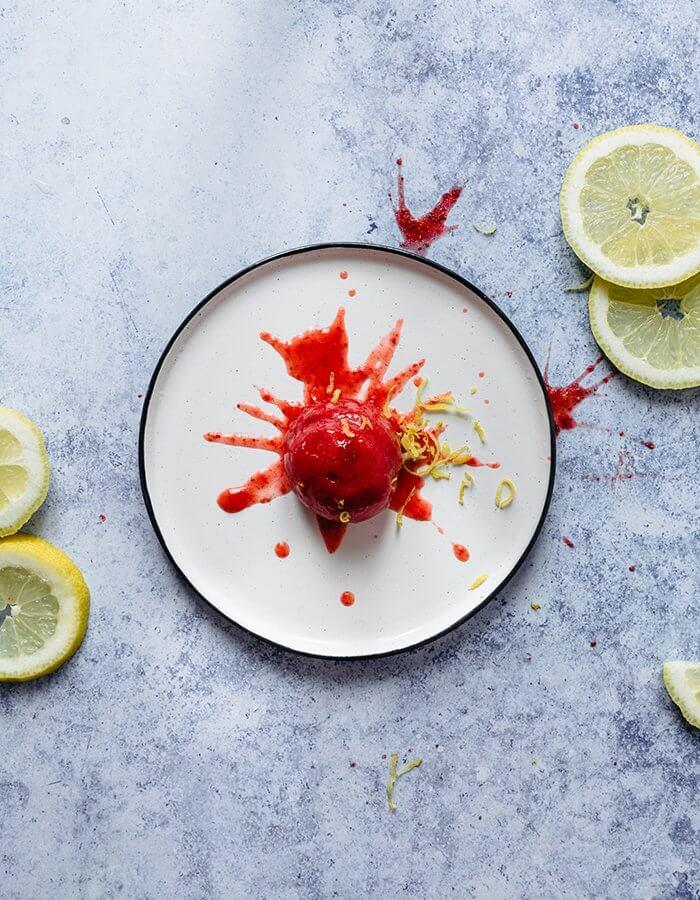 Rezept »5 Minuten Erdbeer Sorbet« (ohne Eismaschine)