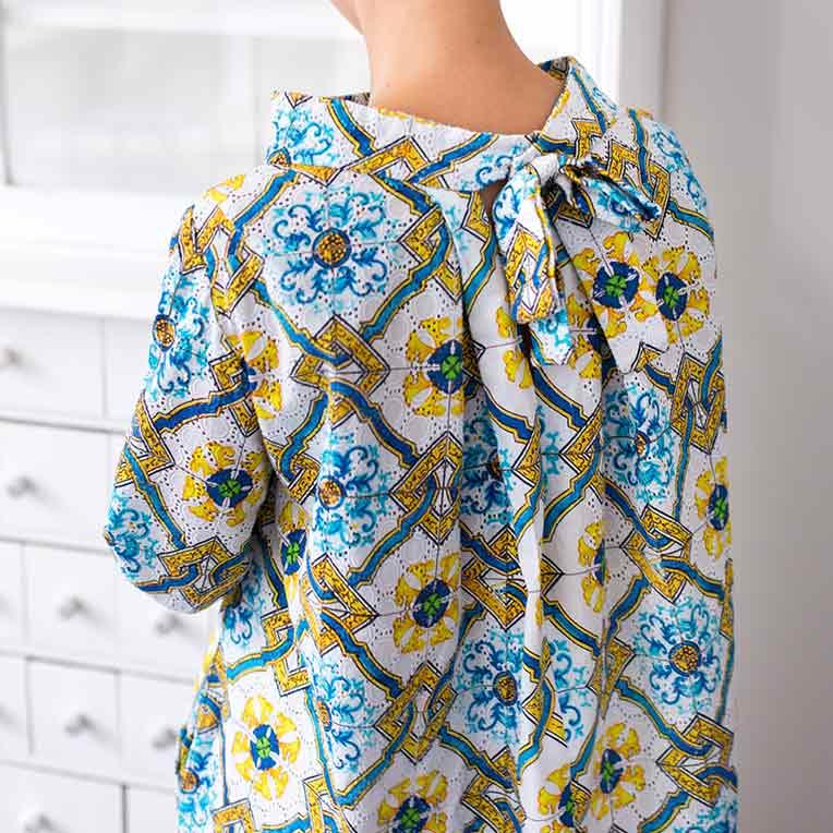 37/2 A-Linien Kleid mit Schleife
