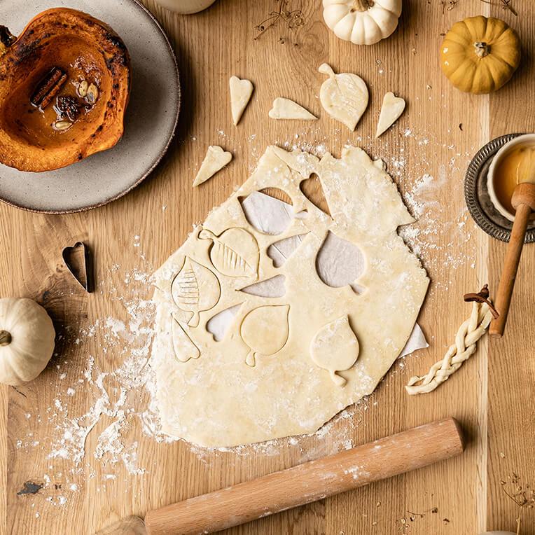 Rezept: »Pumpkin Pie mit Herbstblättern«