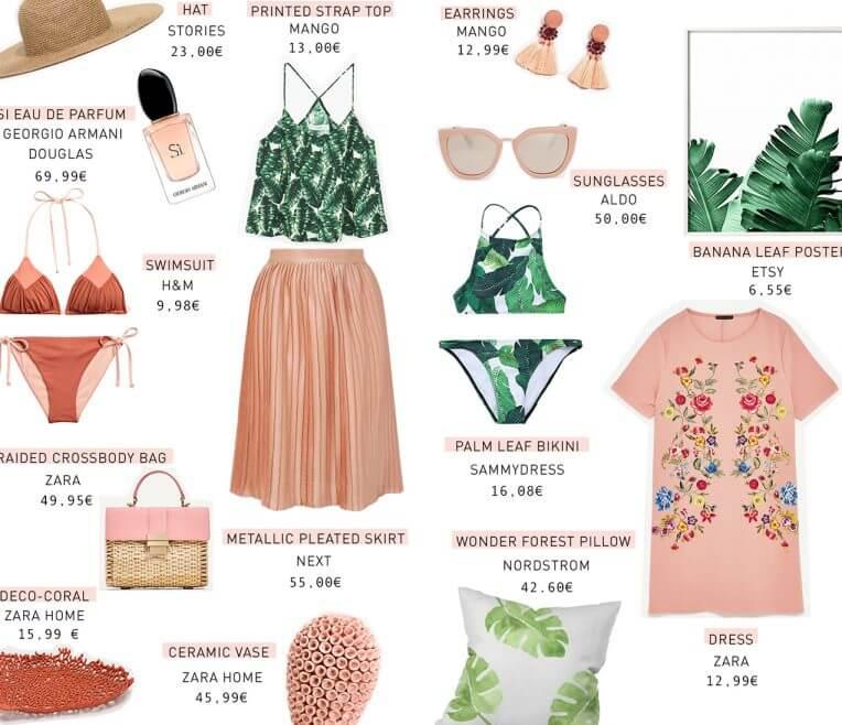 Produktcollage Koralle und Palme