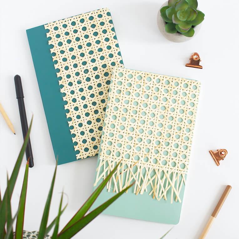 DIY »Notizbücher aus Holzgeflecht«