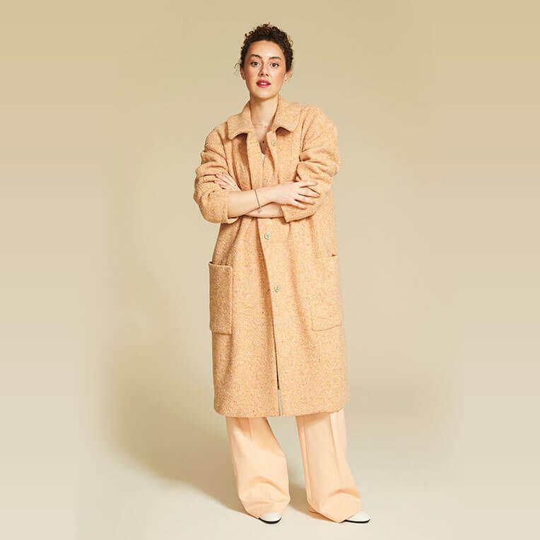 45/4 Oversized Apricot-Coloured Bouclé Wool Coat