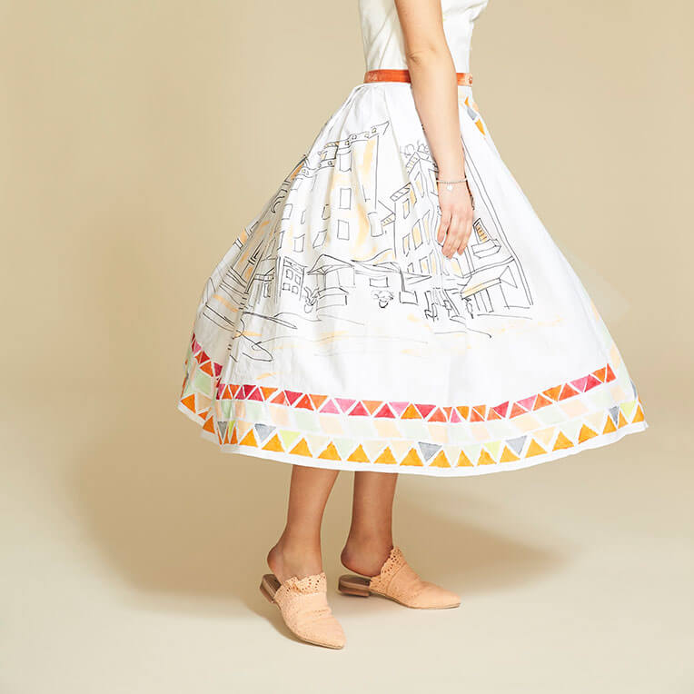 45/5 Stamp Printed Summer Skirt with Button Down Front
