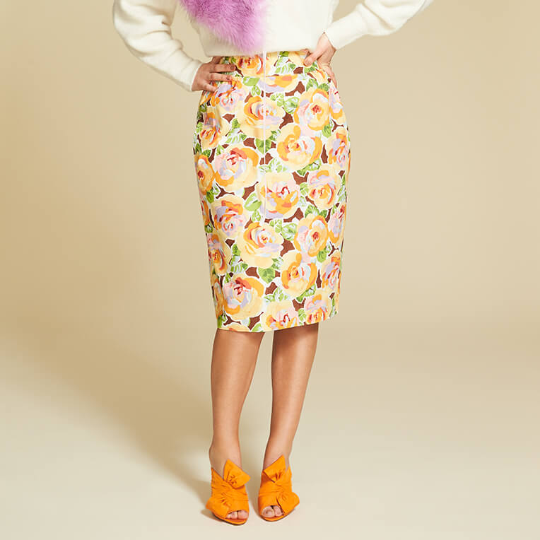 45/2 Slim Flower Skirt with Pleats
