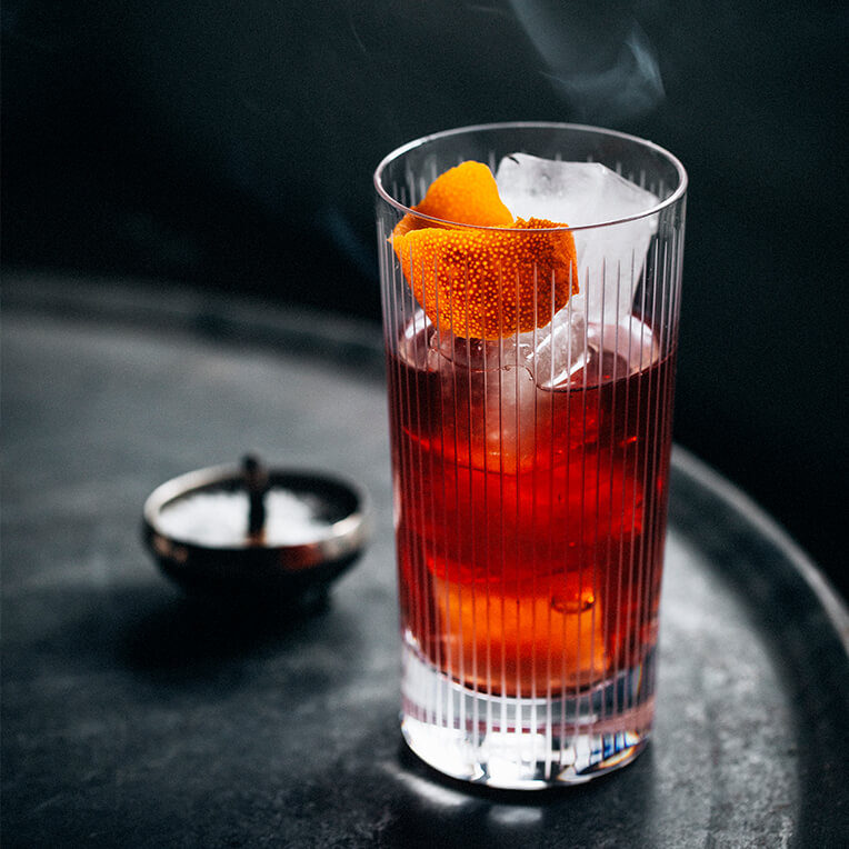 Summer Drink Rezept »Smoked Scotch Negroni«