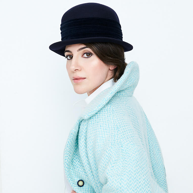 44 Light Blue Herringbone Coat