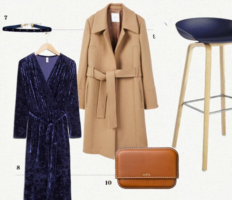 Produktcollage »Tintenblau & Karamell«