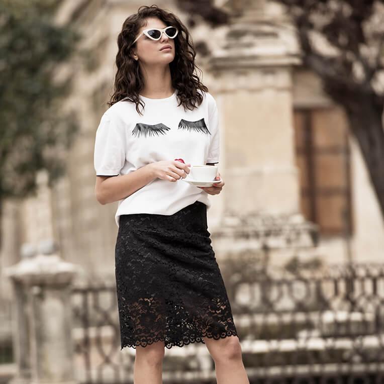 35/3 Black Lace Skirt