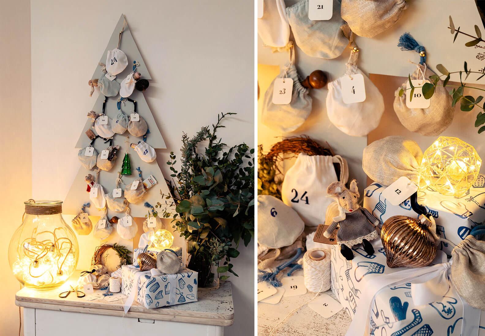 DIY Adventskalender »Holzbaum mit genähten Säckchen«