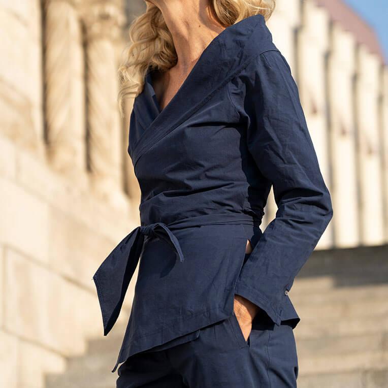 41/1 Dark Blue Tie-Waist Jacket